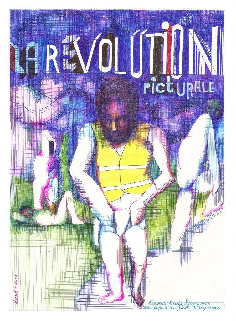 Eric LAMBE - Trois baigneurs au gilet jaune